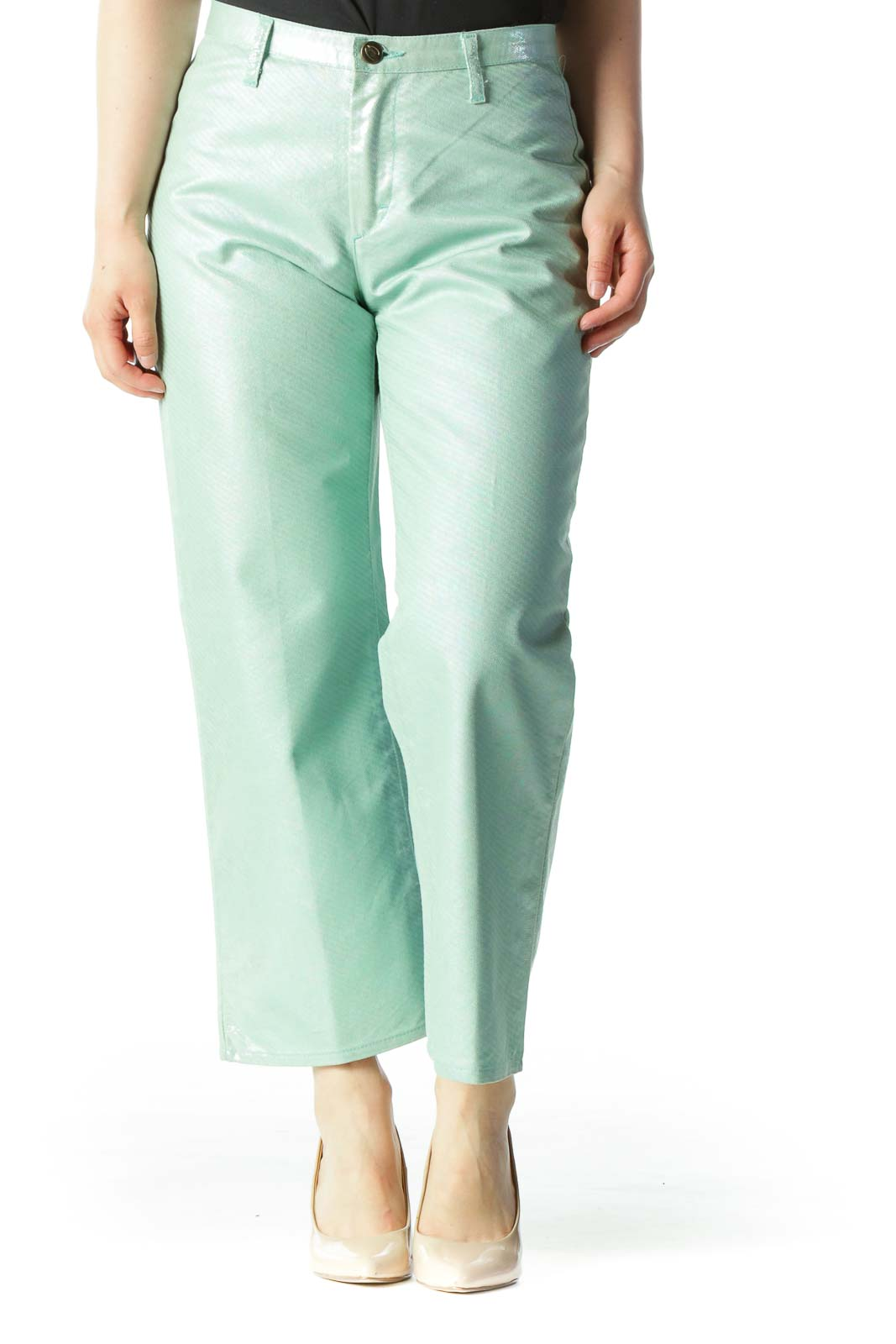 Green Metallic Designer Cropped Straight-Leg Pants
