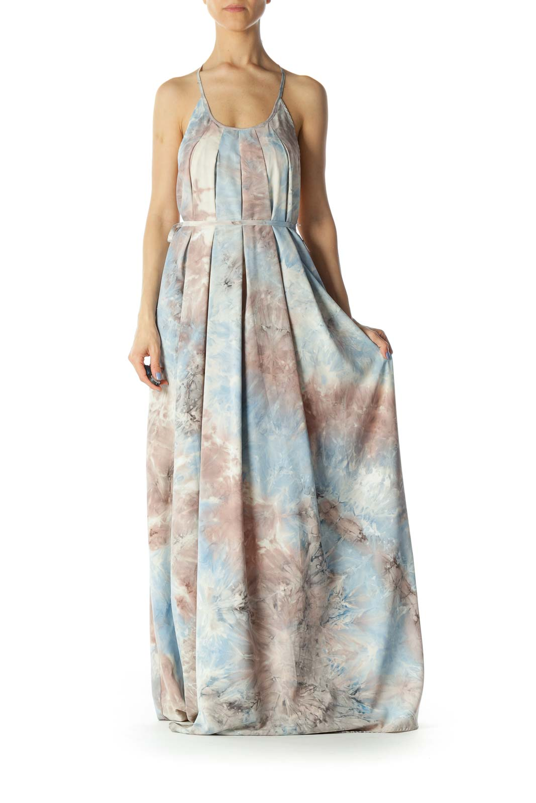 Light Blue/Pink/Gray Print Round-Neck Back Embroidered Strap Long Dress