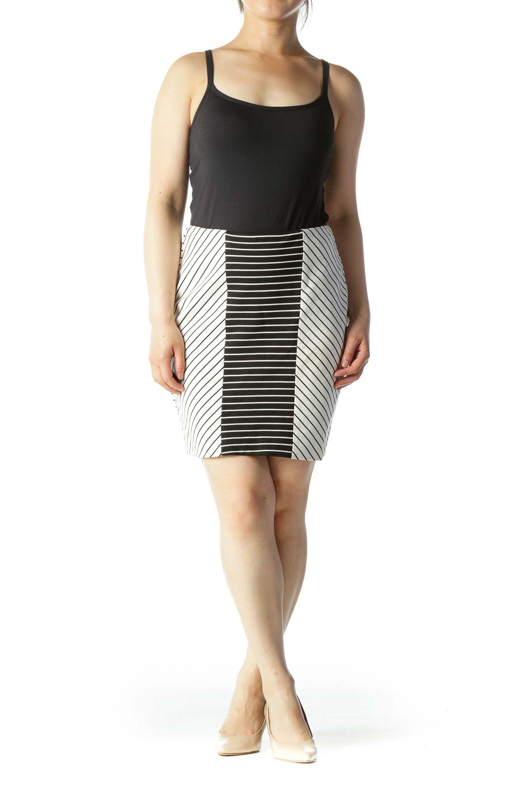 Black & White Striped Color-Blocked Knit Skirt