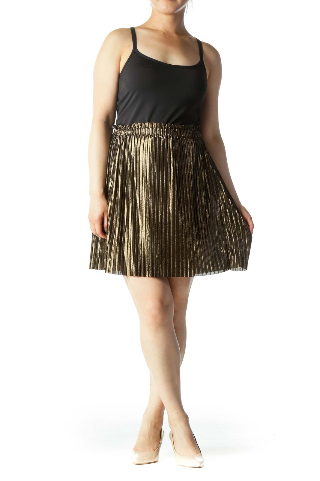 Gold Pleated Cinched-Waist A-Line Skirt