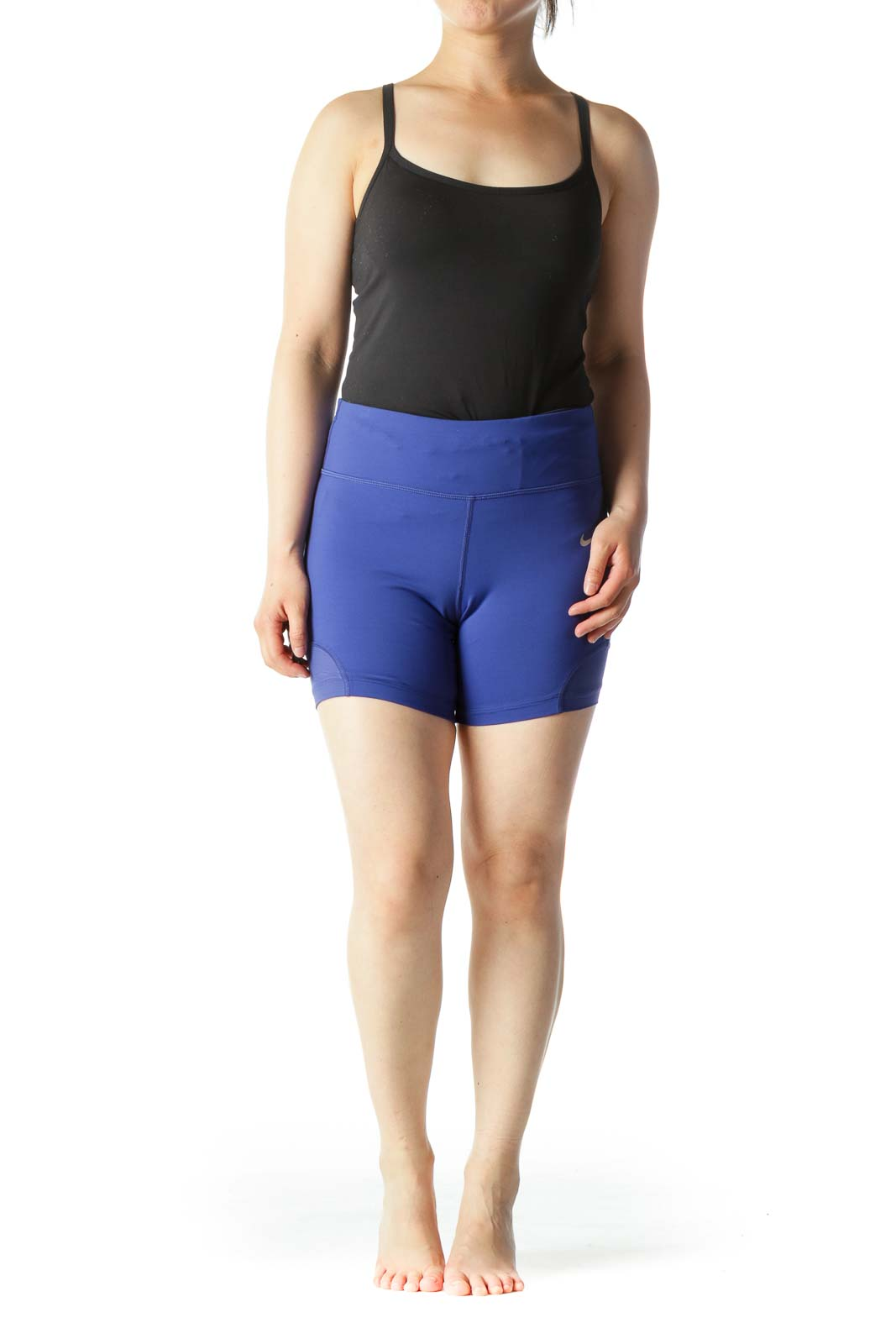 Blue Inside Pocket and Drawstring Stretch Active Shorts