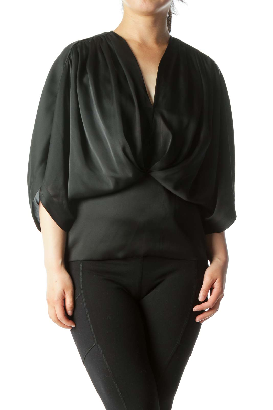 Black Bat-Sleeve Top