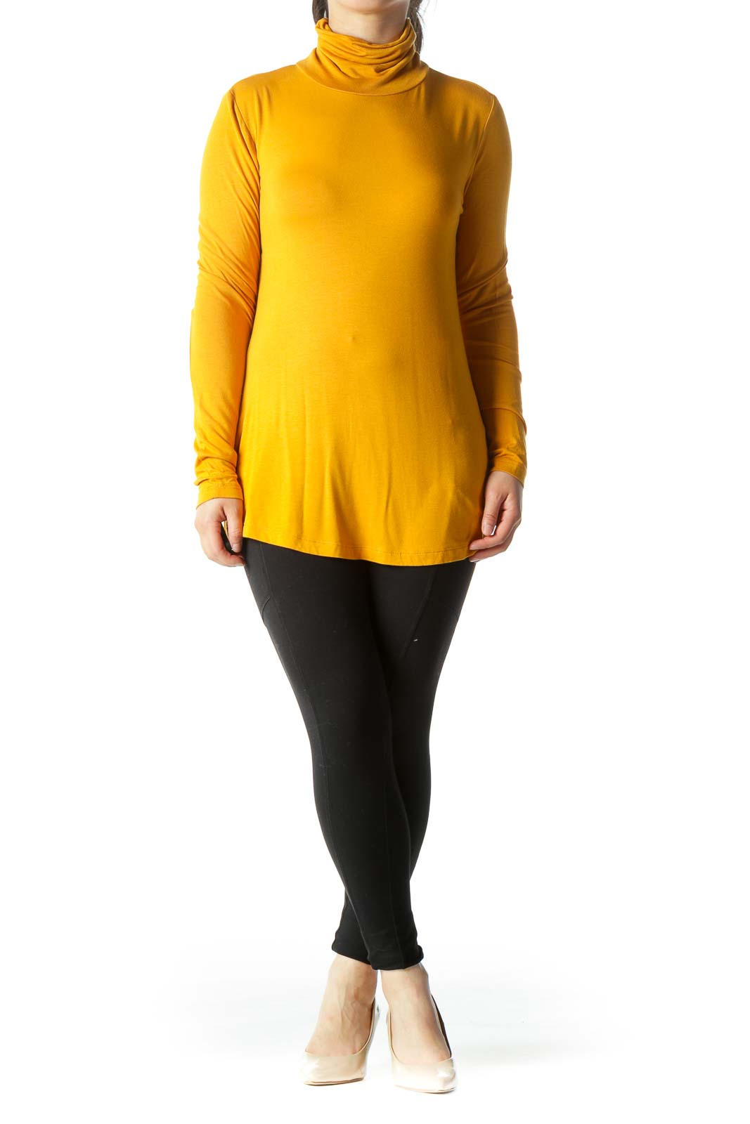 Mustard Yellow Turtle Neck Stretch Long-Sleeve Top