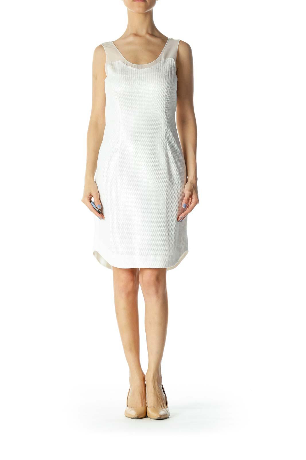 Cream Crochet Lined Mixed-Media Sleeveless Day-Dress