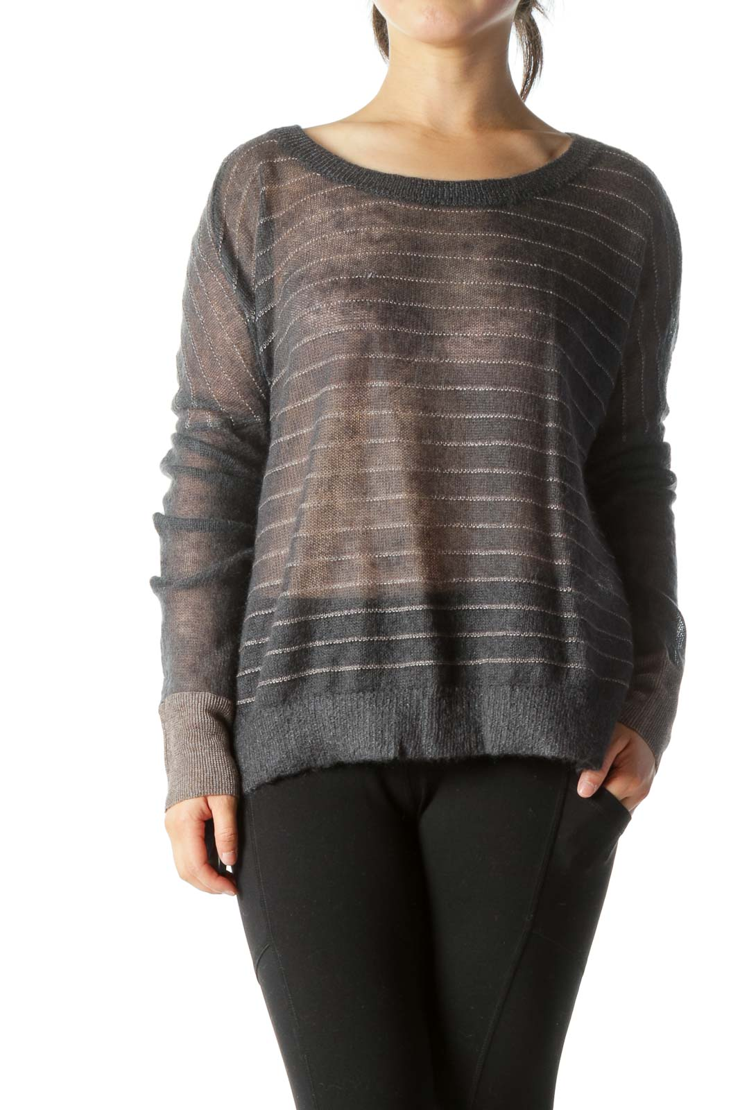 Gray Patterned Cropped Mohair Sweater