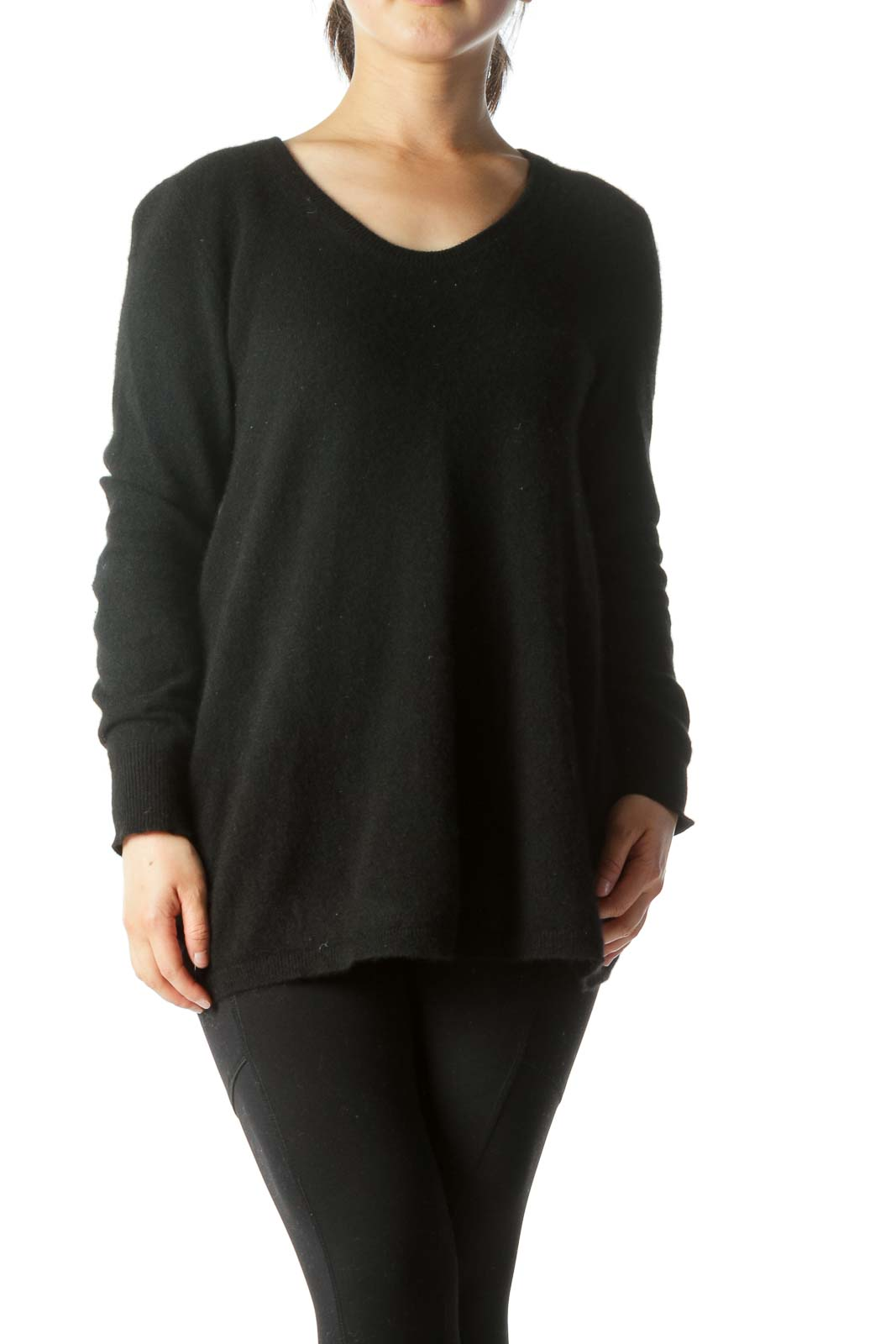 Black 100% Cashmere Round Neck Sweater