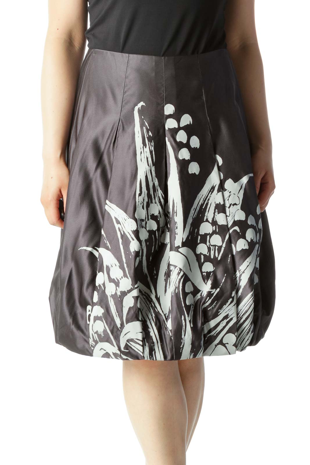 Gray & White Floral-Printed Designer Pleated Bubble Skirt