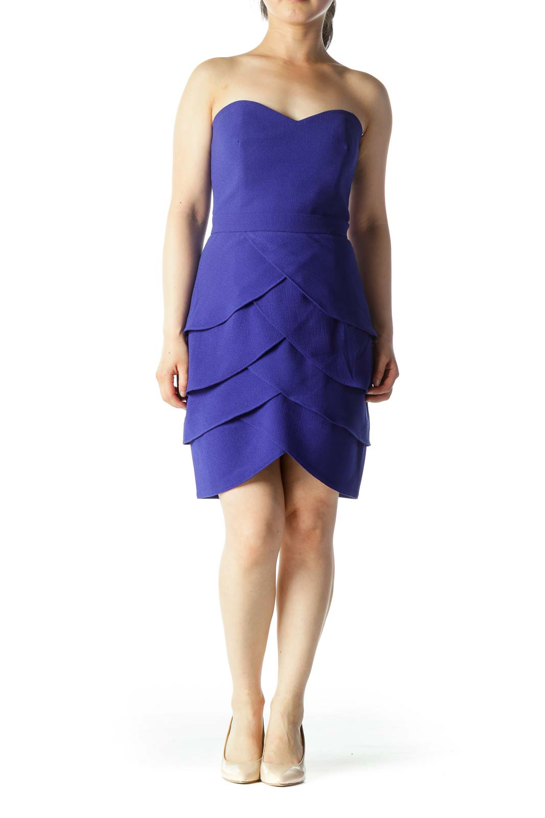 Purple Strapless Tiered Cocktail Dress