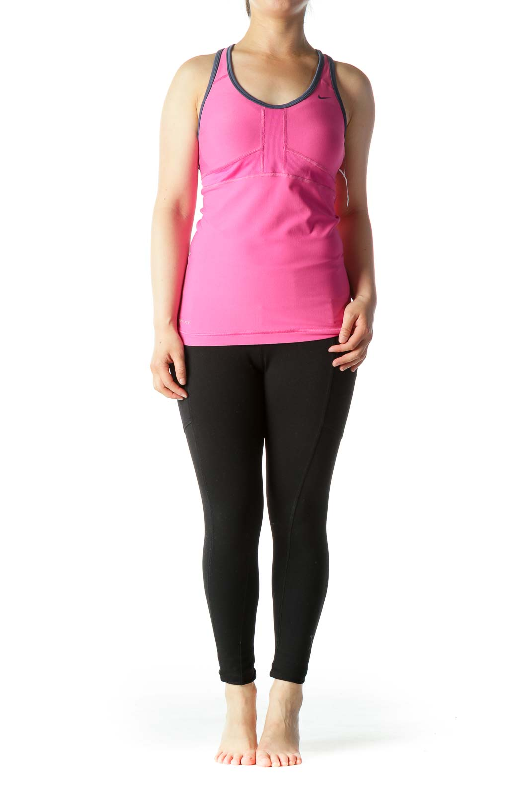 Pink Blue Piping Stretch Sports Top with Built-in Bra