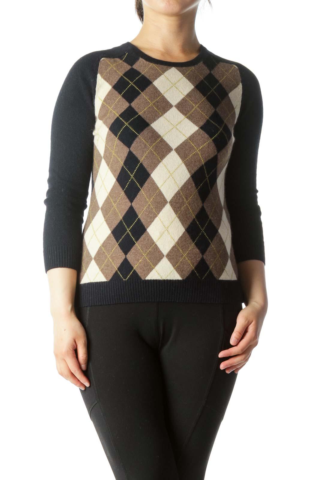 Blue Brown Beige Patterned Round Neck Sweater
