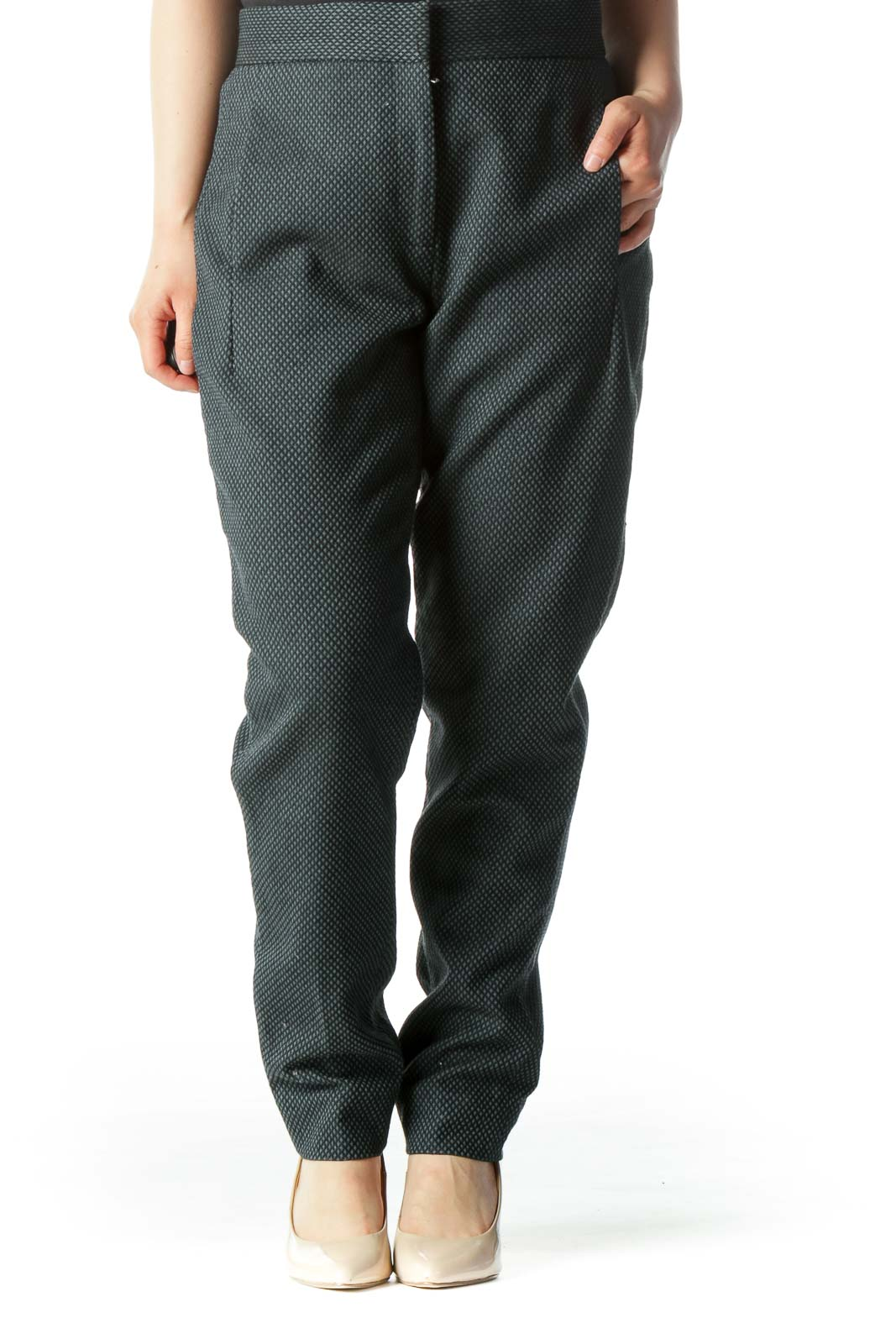 Green Textured Tile-Pattern Tapered Pant