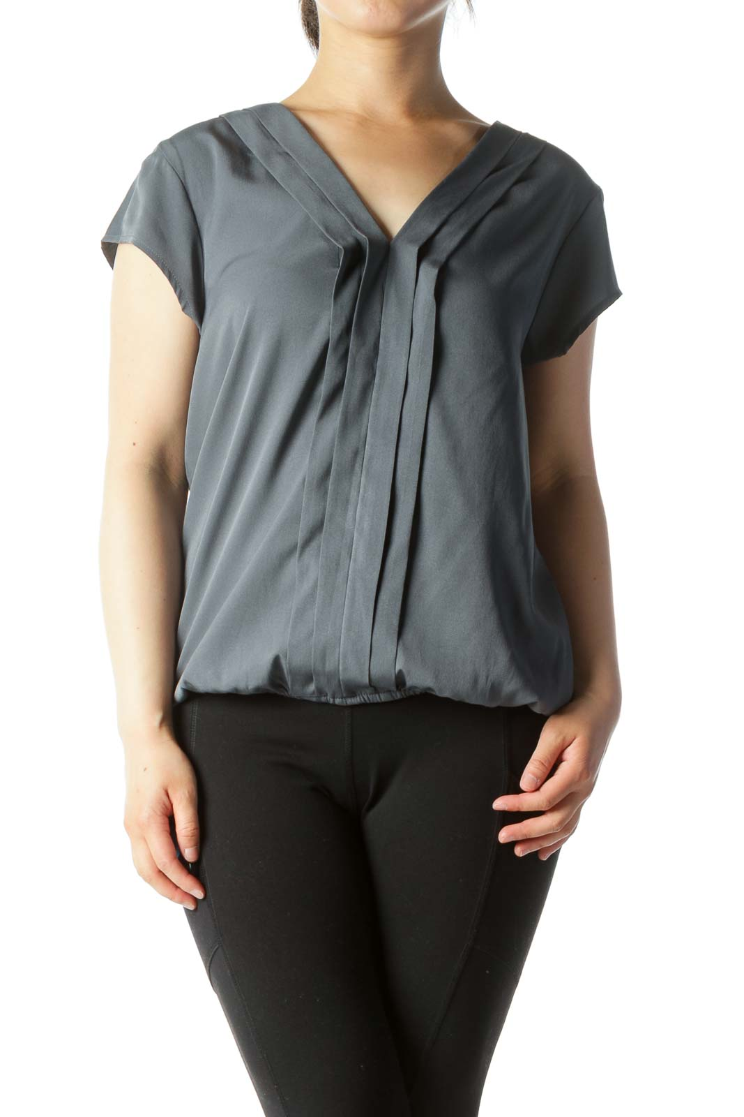 Gray Pleated Elastic Waist Short Sleeve Blouse
