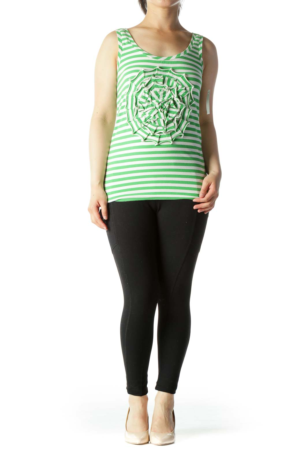 Green White Striped Front Flower Detail Stretch Tank Top