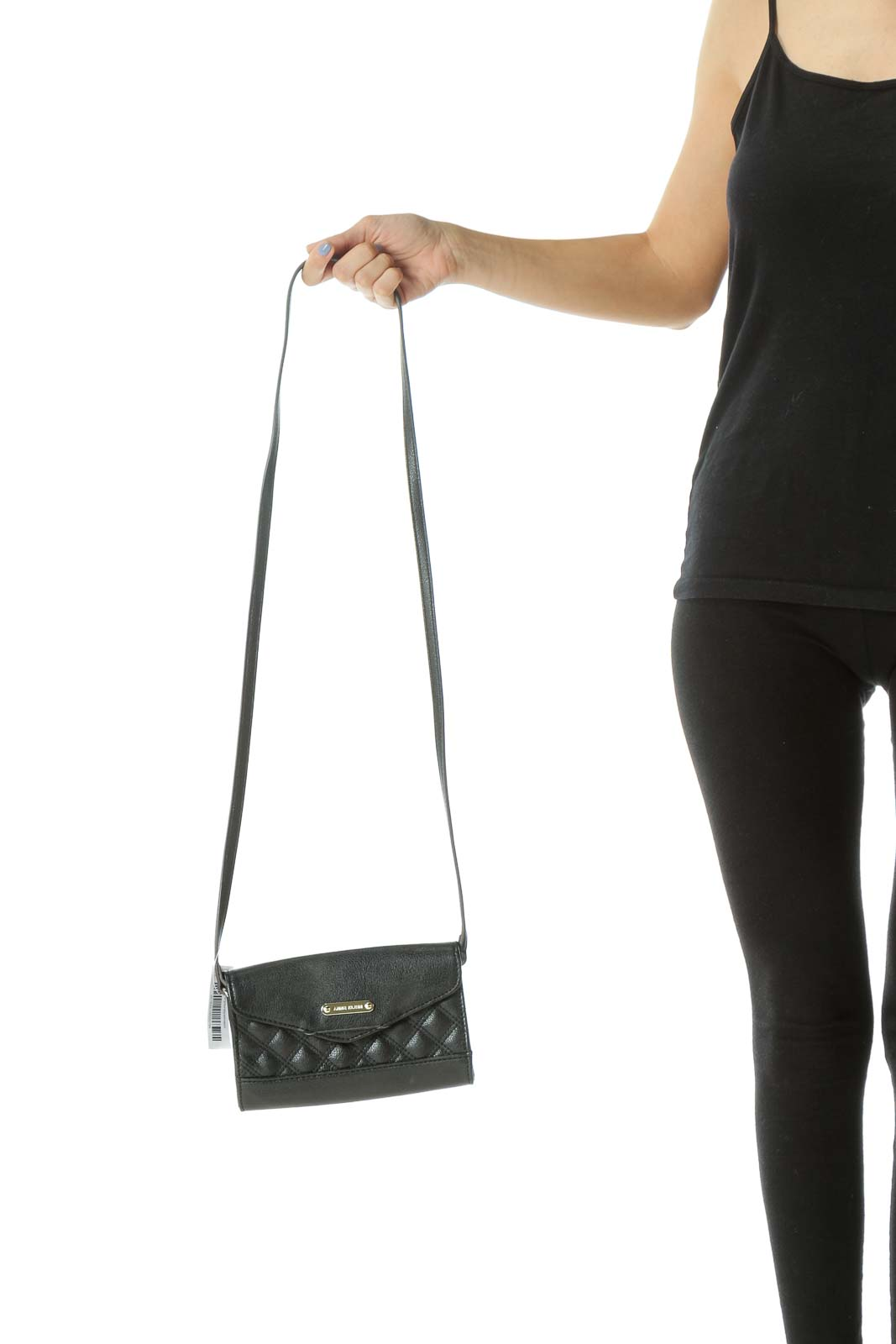 Black Quilted Snap-On Closure Crossbody Bag