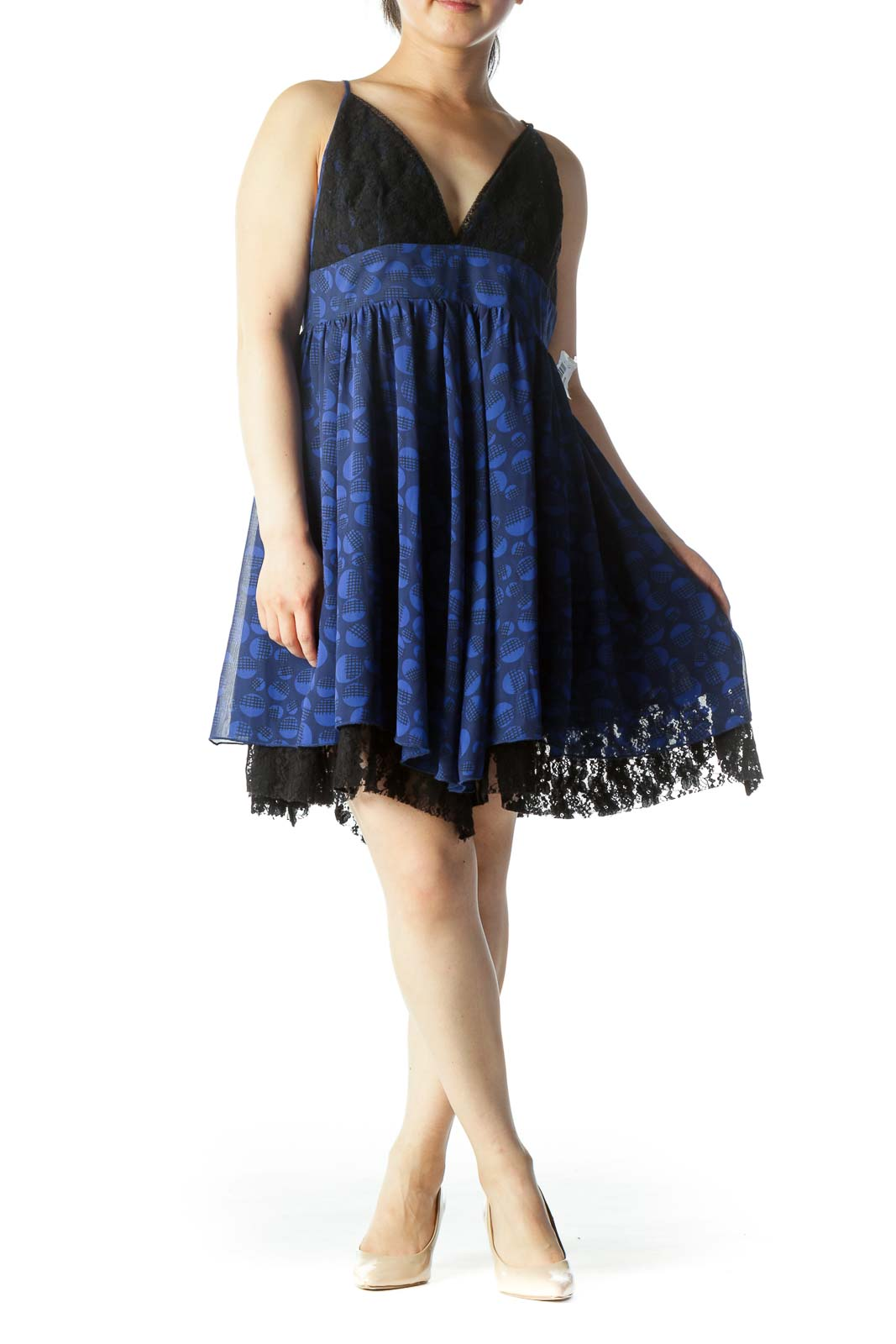 Blue & Black Printed Lace-Breasted Spaghetti Strap Day Dress