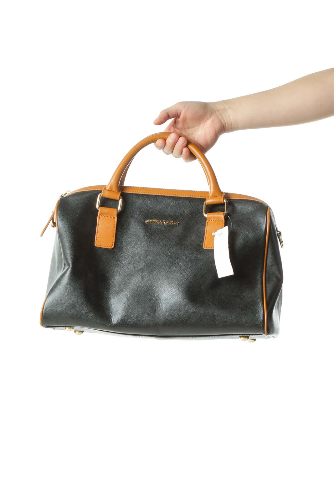 Black Color Block Leather Satchel