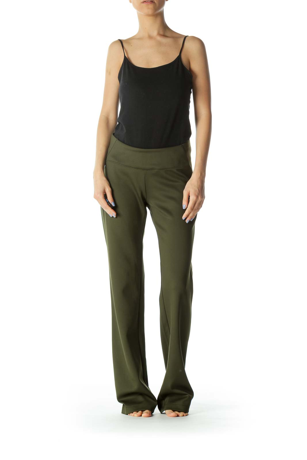 Olive Green Stretch Activewear Pants