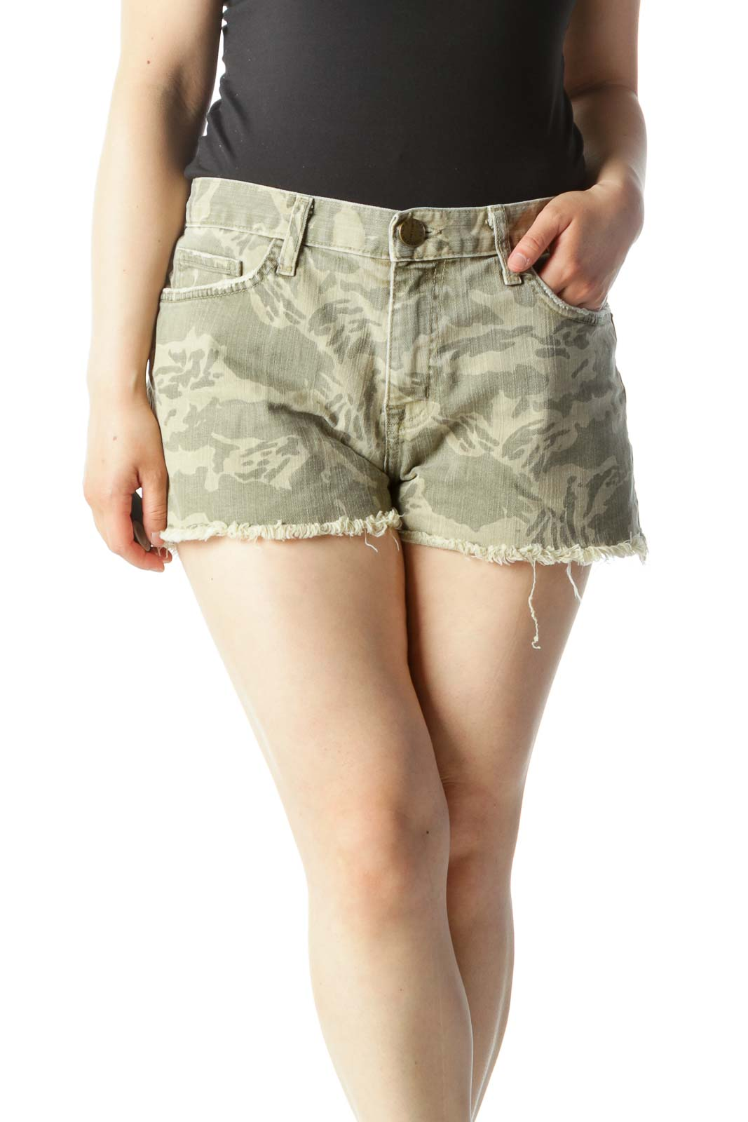 Green & Brown Camo Mid-Rise Distressed-Hem Shorts