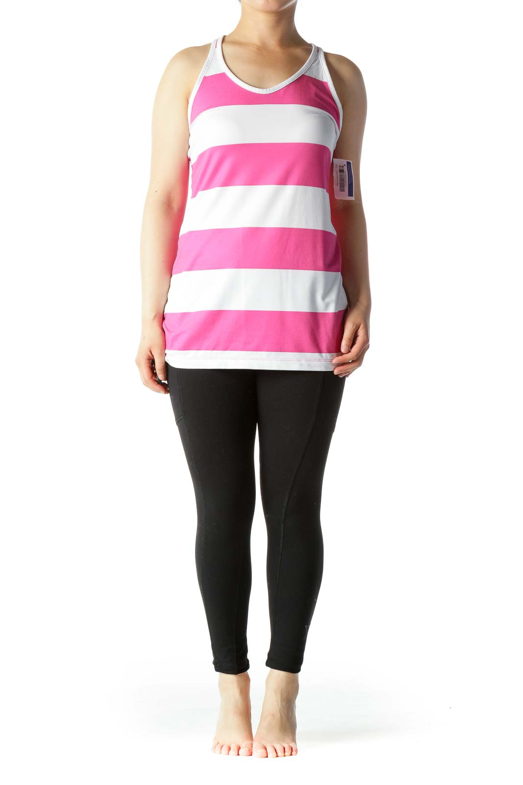 Pink White Stripe Back Mesh Racerback Stretch Active Top