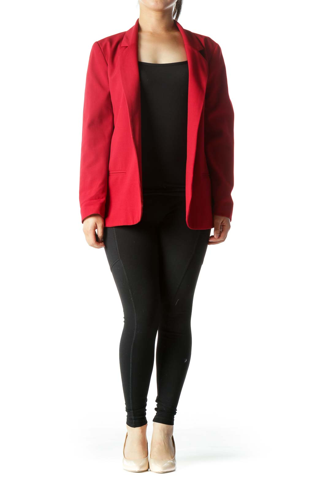 Red Collared Open Long-Sleeve Blazer