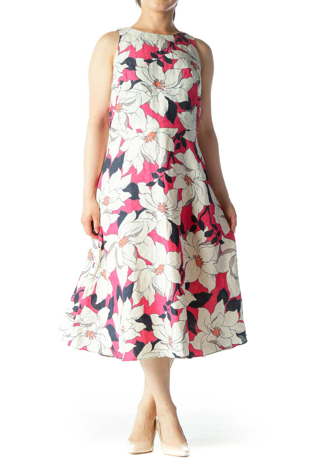 Beige Pink & Navy Floral Print Sleeveless Linen Day Dress