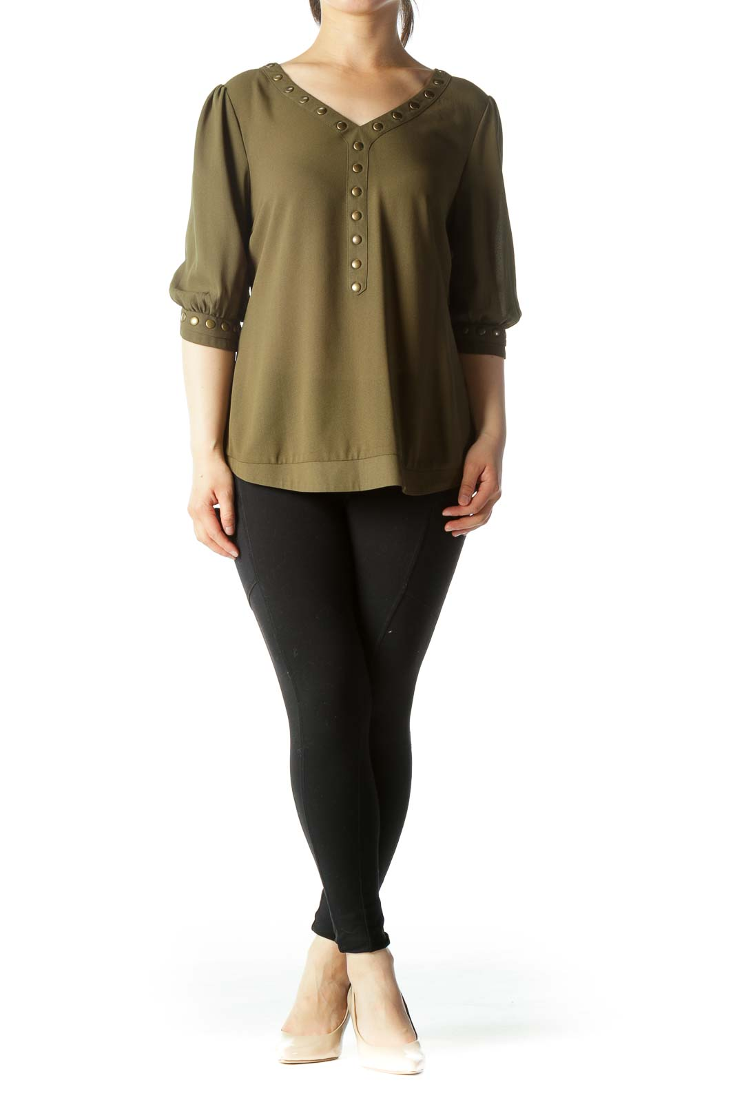 Olive Green V-Neck Studded 3/4-Sleeve Stretch Blouse