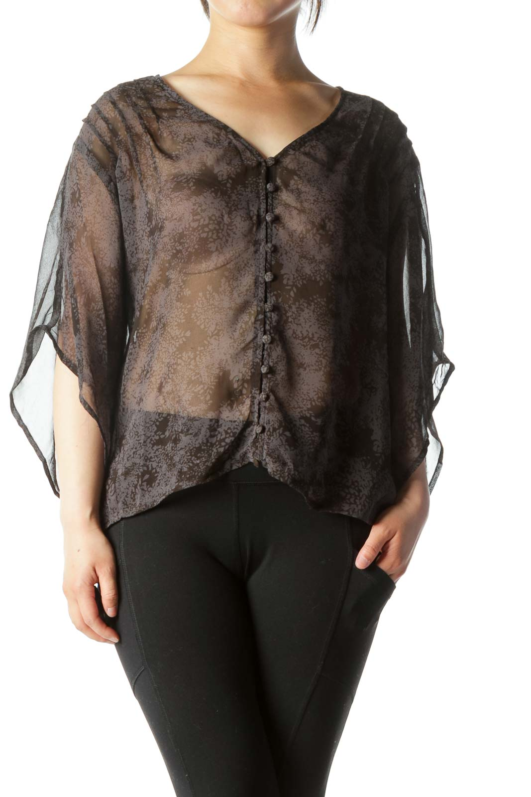 Black Gray printed Buttoned See-Through Short Bat Sleeves Top