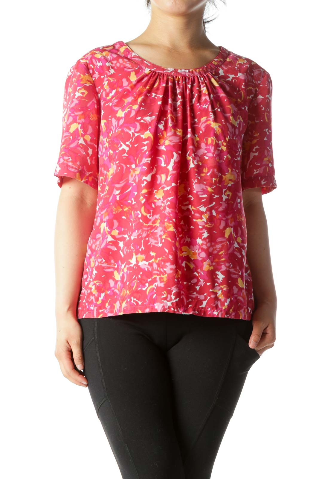 Pink Yellow White Print Short Sleeve Ruched Neckline Top