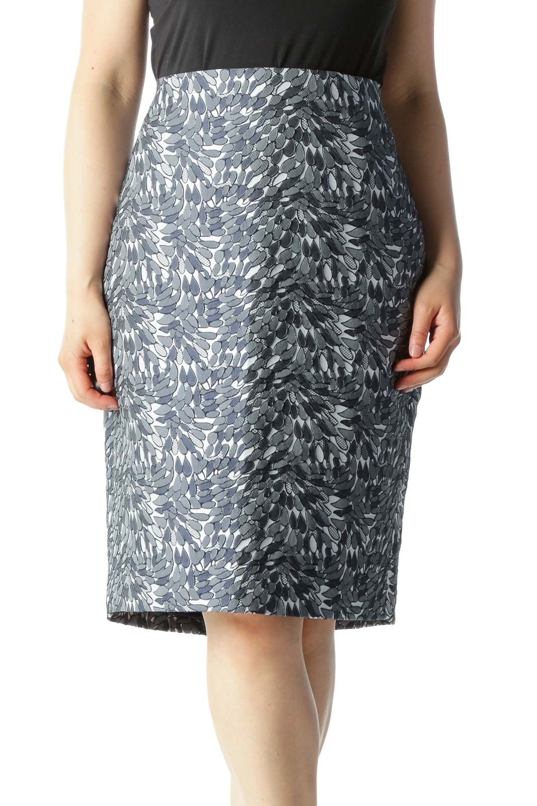 Navy & White Jacquard Leaf-Print Pencil Skirt