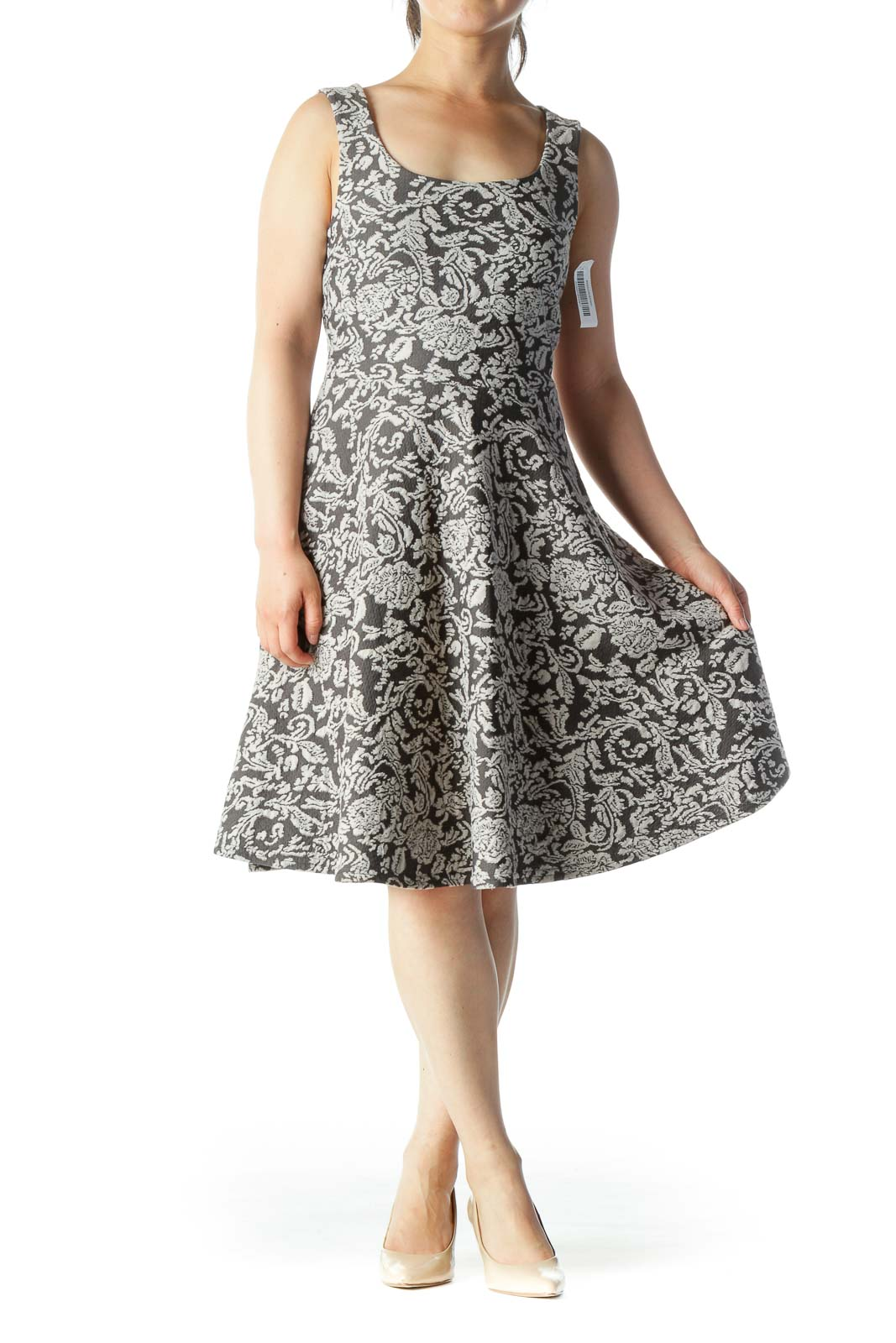 Gray Floral-Design Flared Sleeveless Knit Dress