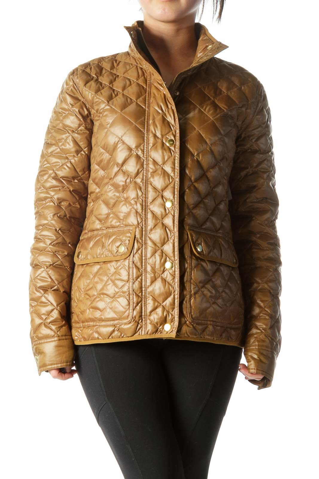 Gold Quilted Long-Sleeve Pocketed Fitted Jacket