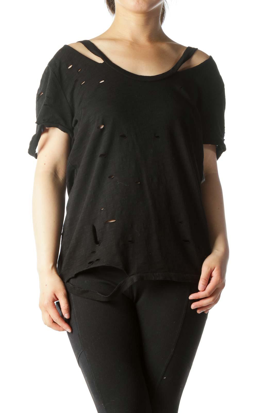 Black Distress Design Short-Sleeve T-Shirt