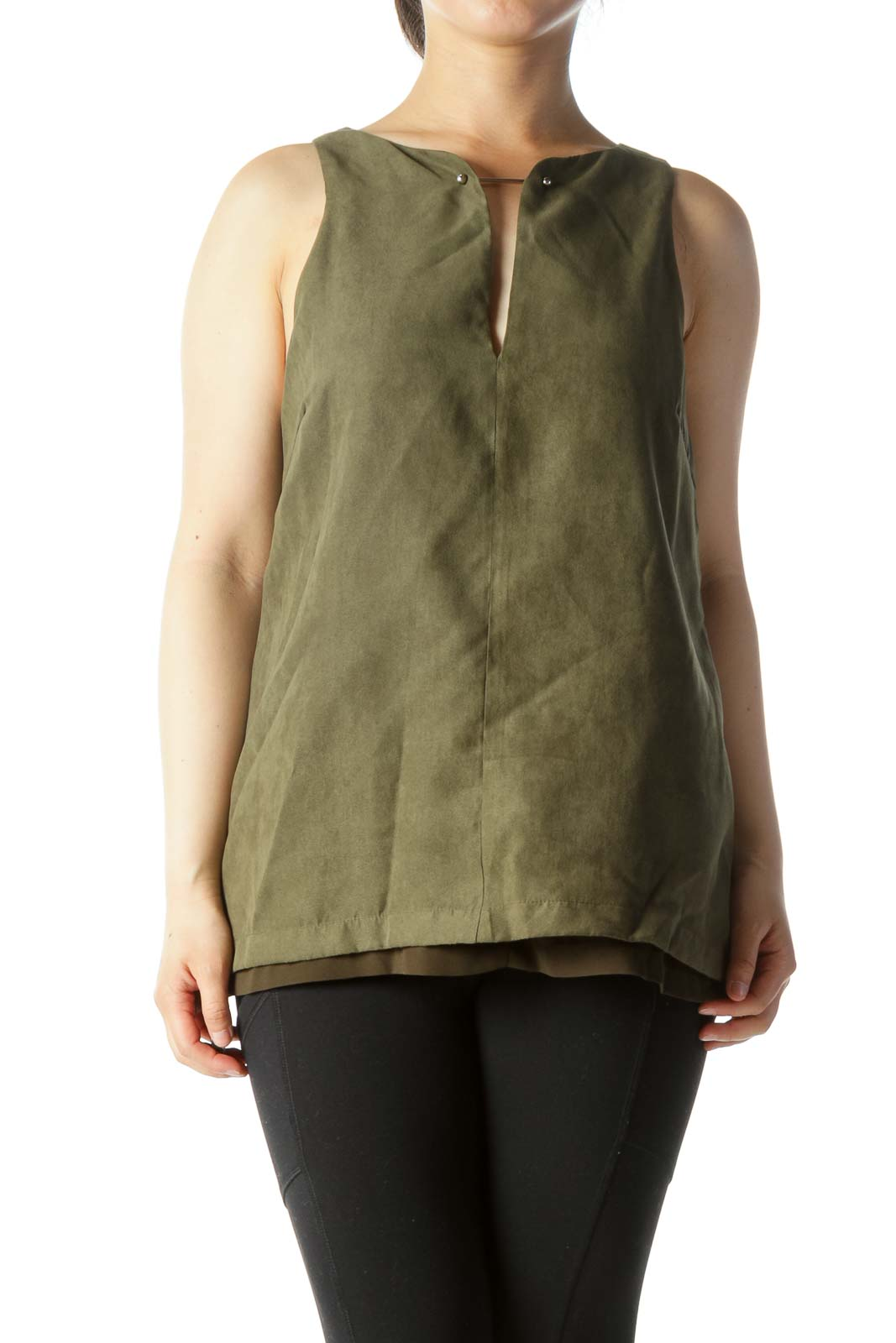 Olive Green Faux-Suede Metallic Detail Keyhole Lined Tank Top