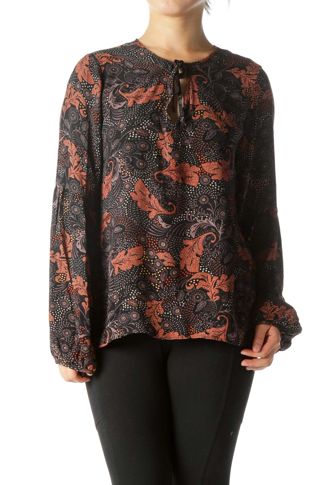 Black Orange Leaves Print V-Neck Long Sleeve Blouse