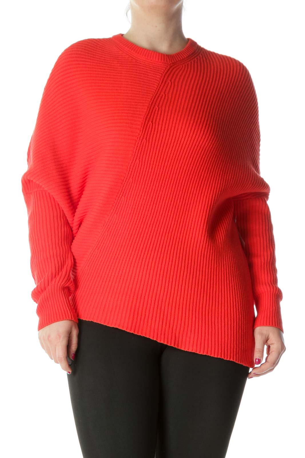Bright Orange Round-Neck Bat Sleeve Knit Sweater
