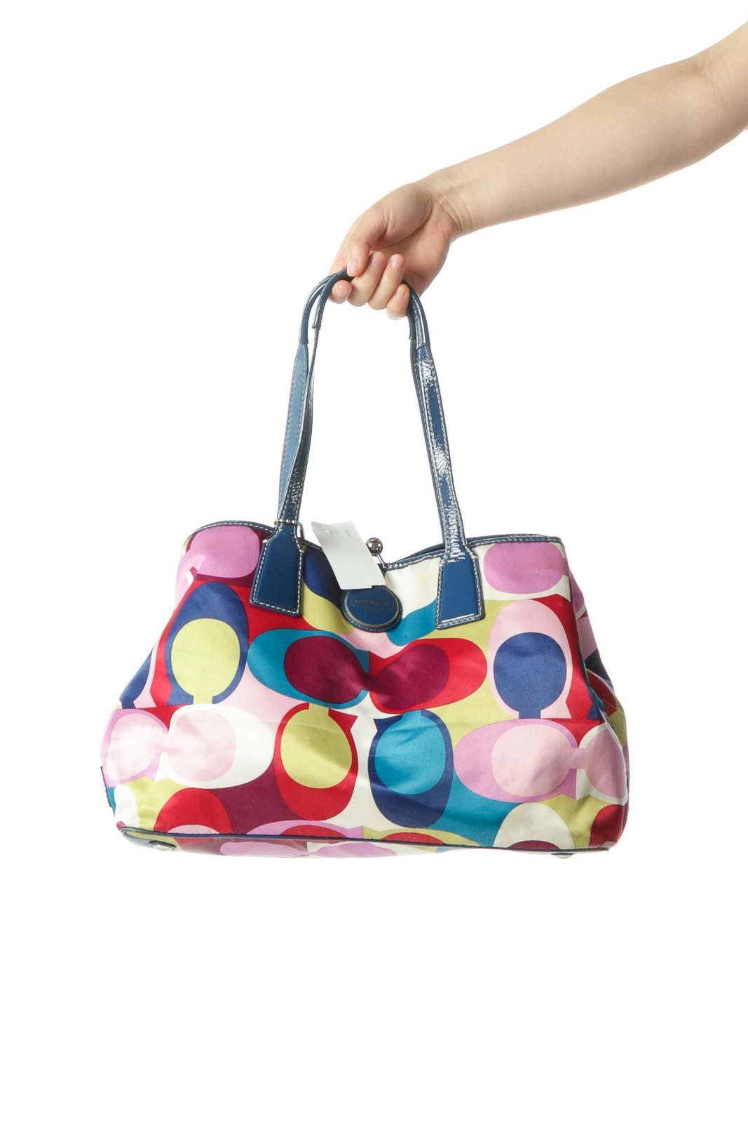 Pink Blue Print Monogram Shoulder Bag