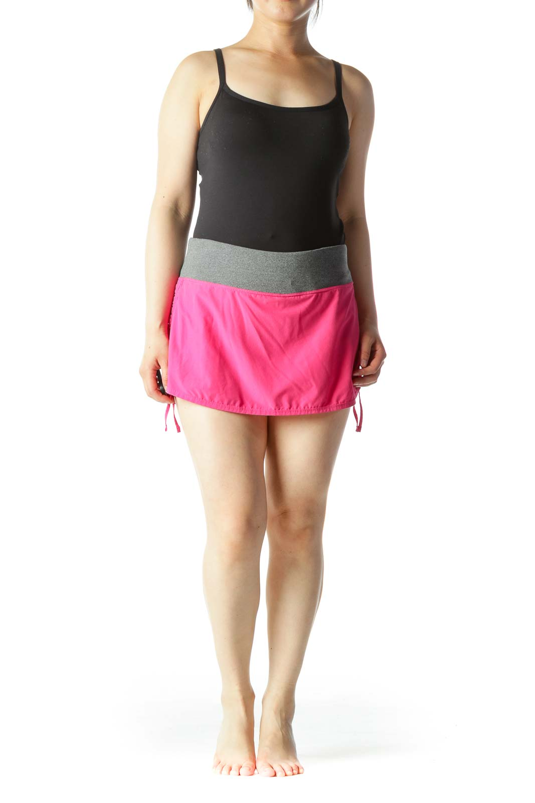 Pink Gray Orange Active Skirt with under Shorts and Drawstring