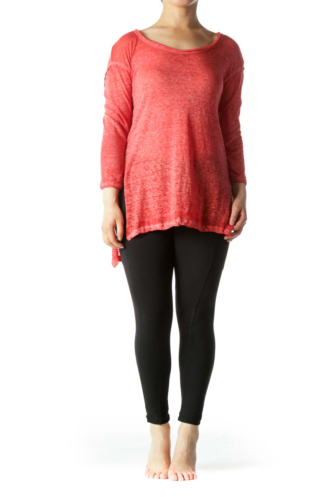Red White Dyed Round Neck Light-Weight Long Sleeve Top