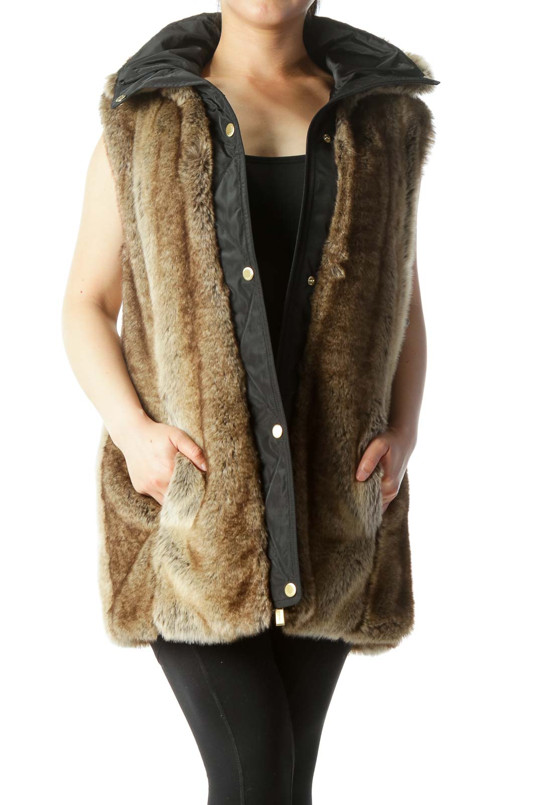 Black Brown Faux-Fur Hidden Hood in Zipper Vest