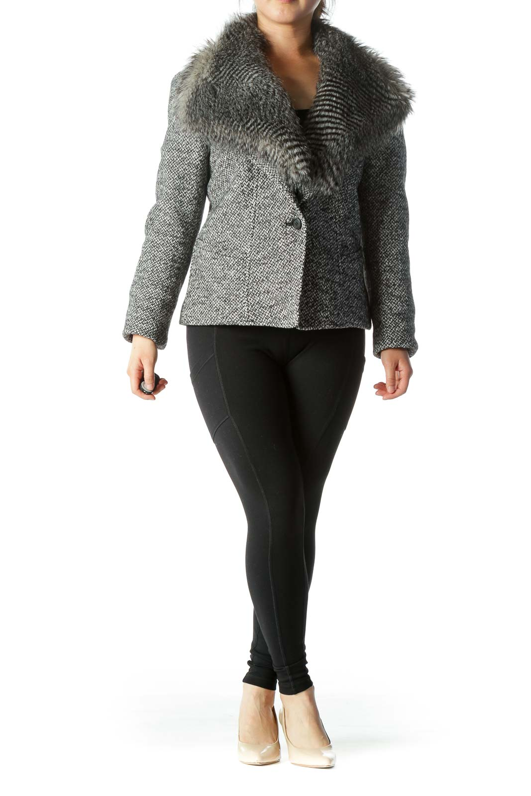 Black White Buttoned Removable Faux-Fur Collar Knit Blazer