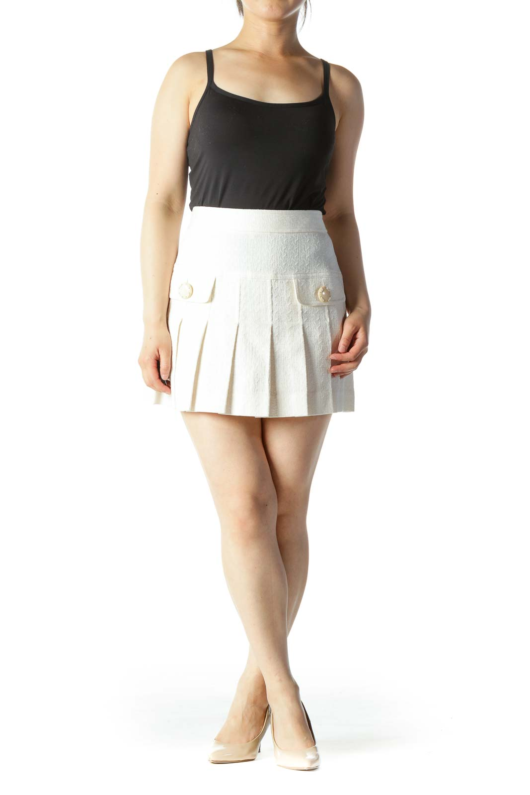 Cream Designer Pleated Pocketed Mini Skirt