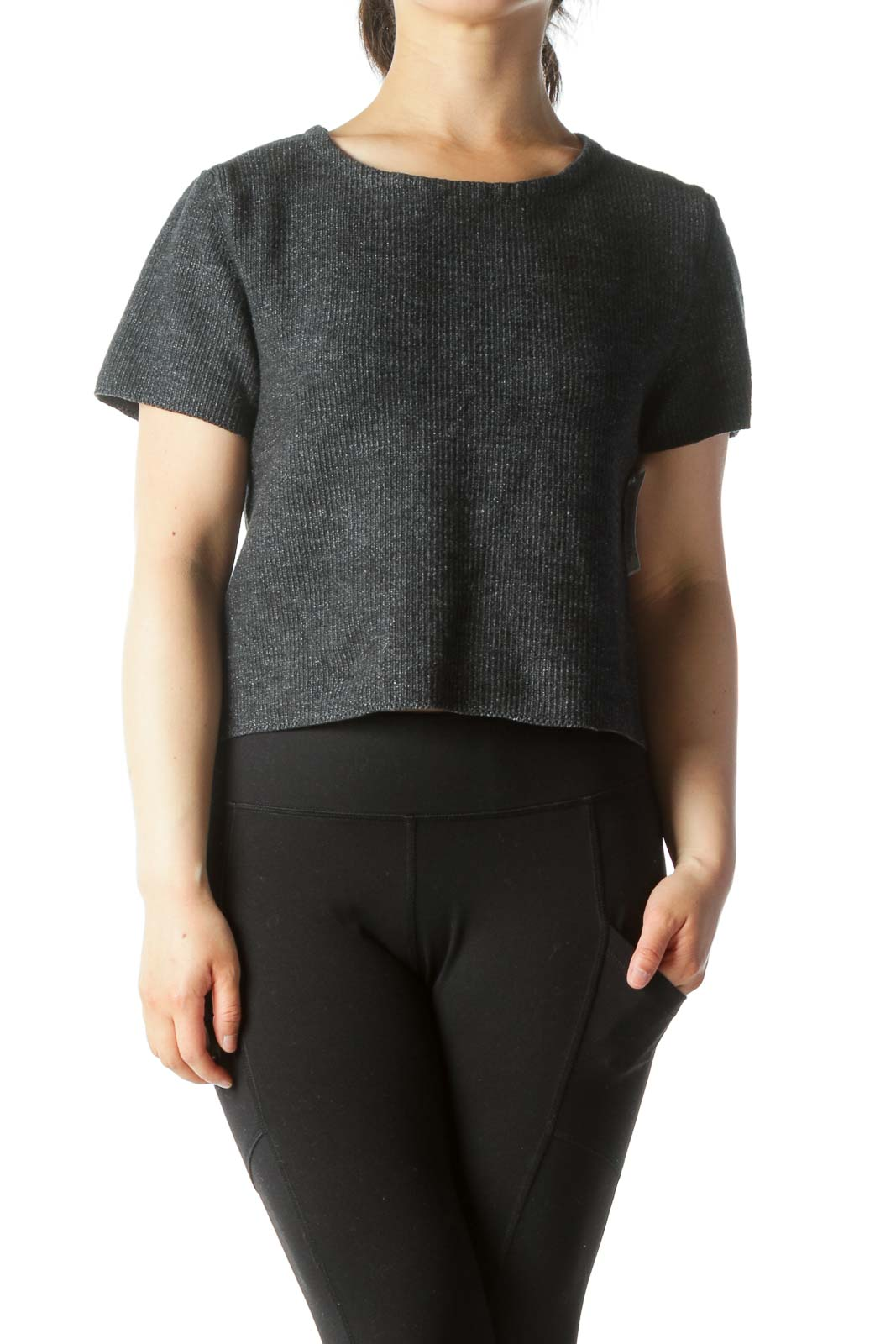 Dark Gray Knit Short Sleeve Top