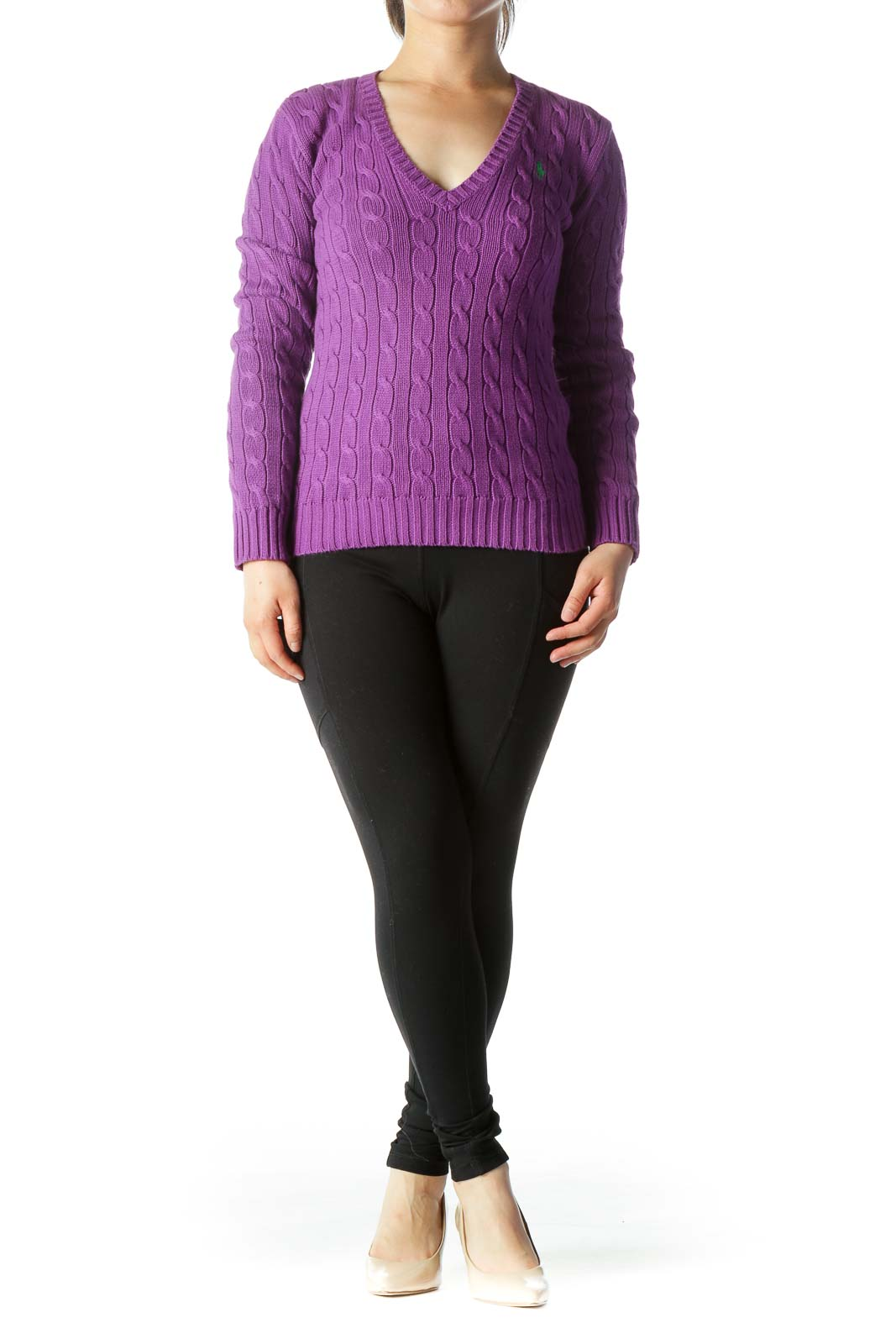 Purple 100% Cotton V-Neck Knit Long-Sleeve Sweater