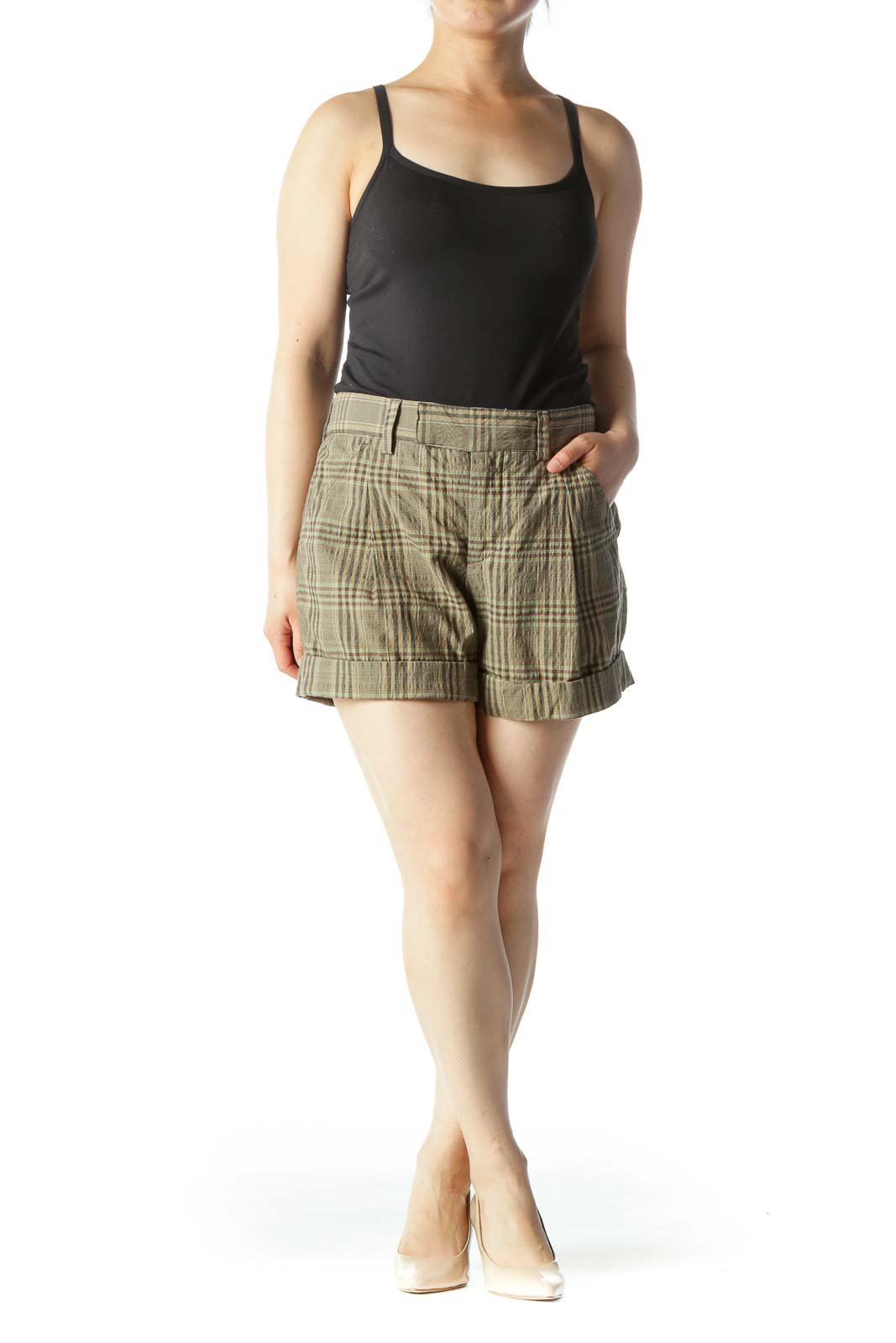 Green & Brown Plaid Mid-Rise Cuffed Shorts