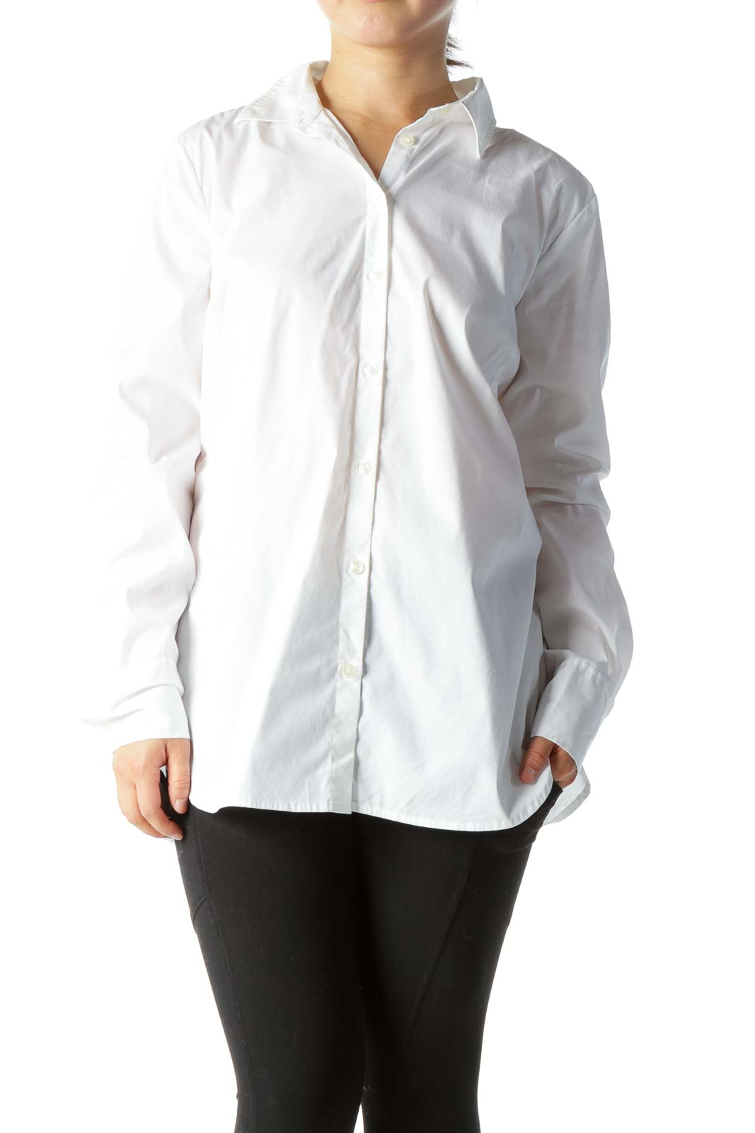 White Buttoned Long Sleeve Cotton Blend Stretch Shirt