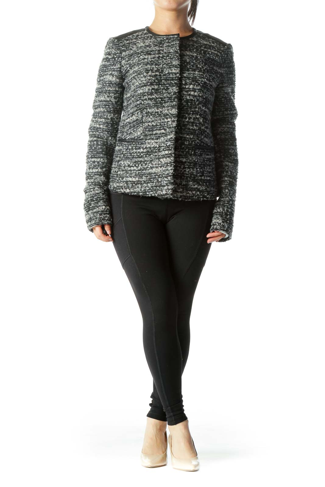 Black Gray Round-Neck Hidden Buttons Long-Sleeve Knit Jacket