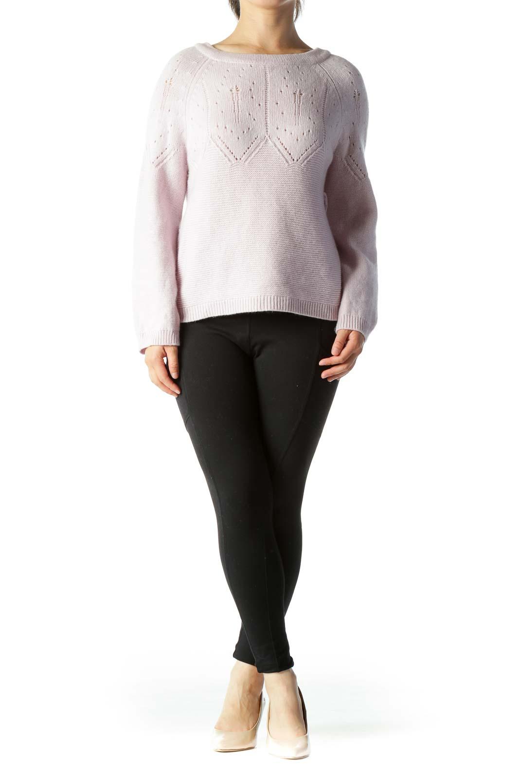 Light Purple Round Neck Design Knit Back Knot Sweater