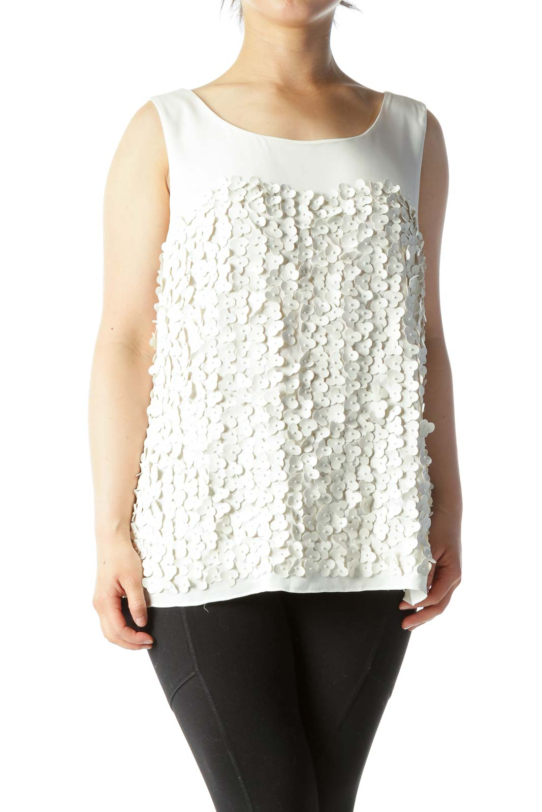 Cream Round Neck Floral Appliques Sleeveless Blouse