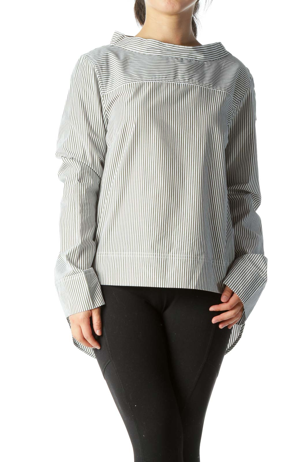 Olive Green Whit 100% Cotton Striped High-Low Shirt
