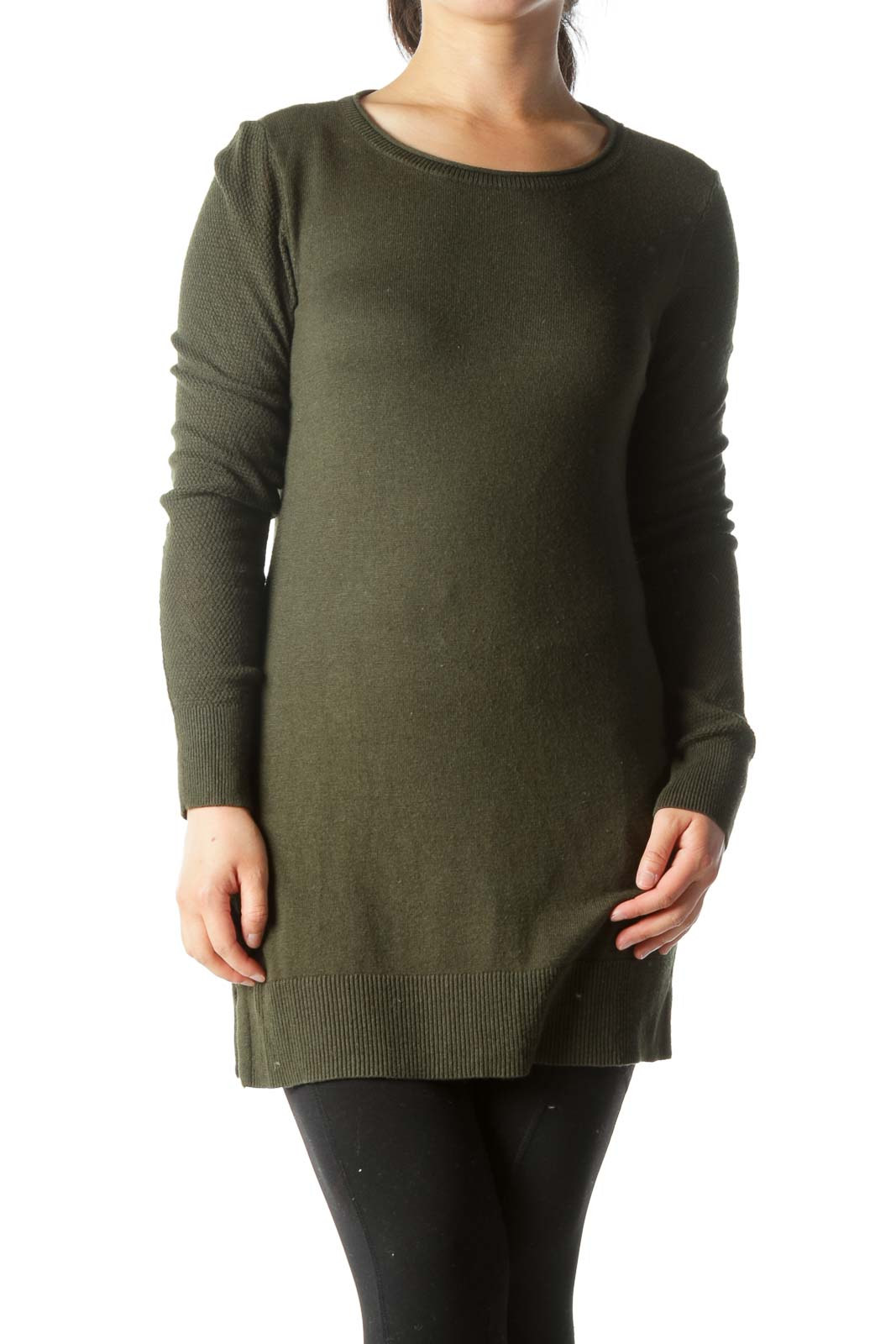 Dark Green Round-Neck Long-Sleeve Knit Sweater